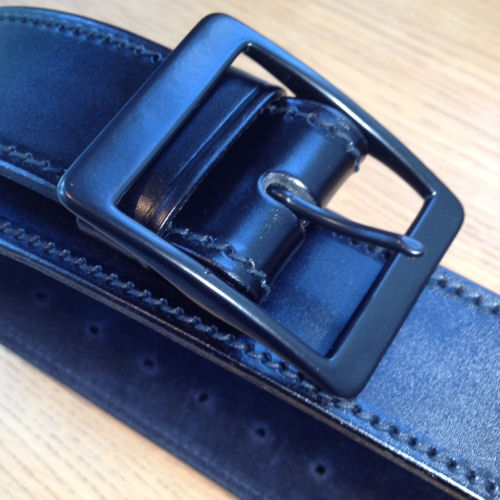 "PWL 819 2"" Suede Lined Black Leather Belt, Black Buckle"