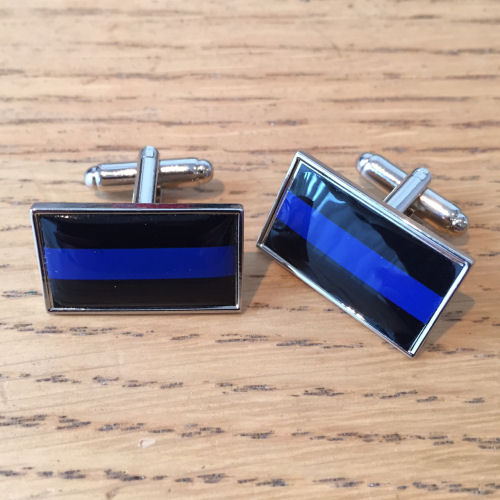 Thin Blue Line Domed Resin Cufflinks TBL12