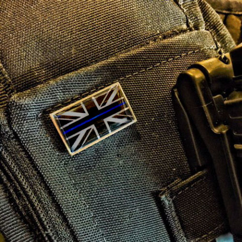 Thin Blue Line Grey Union Flag Police Pin Badge EL TBL10