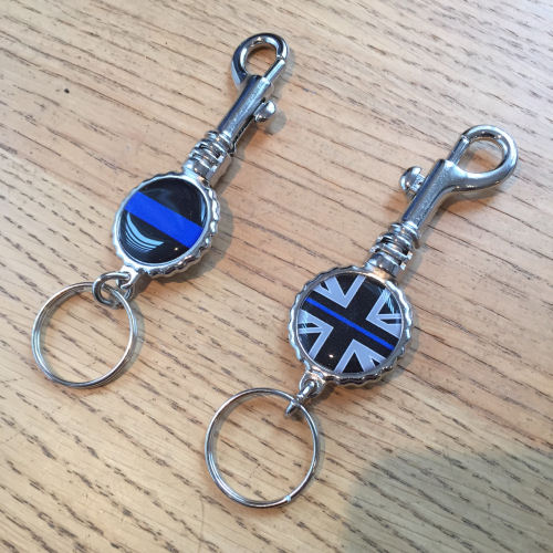 Thin Blue Line Police Key Ring with Trigger Hook EL TBL09