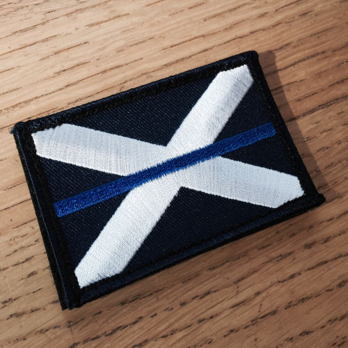 Thin Blue Line Scotland Scottish Saltire Flag Tac Vest Badge TBL04S with Velcro
