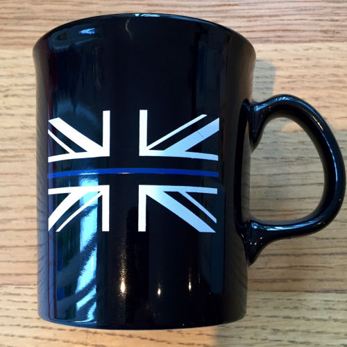 Thin Blue Line Union Flag Mug Black, TBL03