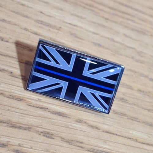 Thin Blue Line Union Flag Police Domed Resin Pin Badge EL TBL07