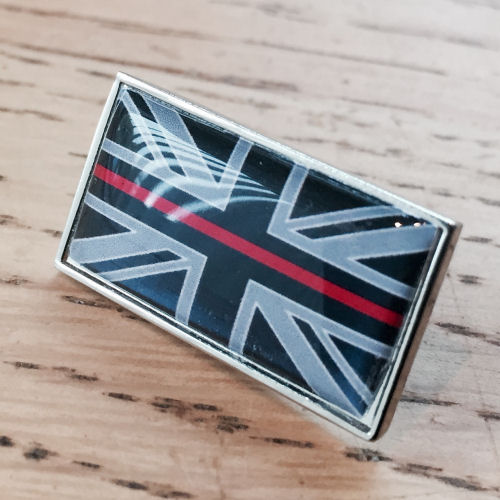 Thin Red Line Union Flag Fireman Firefighter Pin Badge EL TBL07