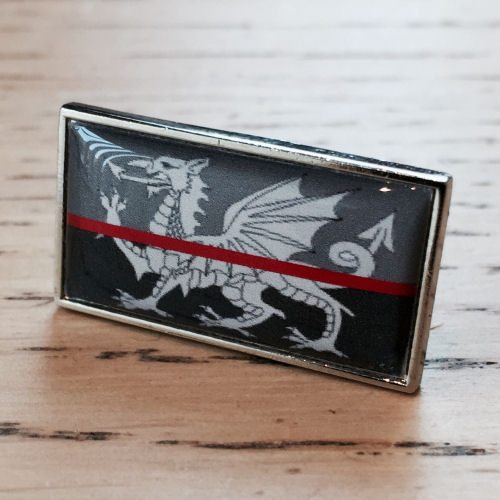 Thin Red Line Welsh Dragon Wales Flag Fire Service Pin Badge EL TBL06 RED